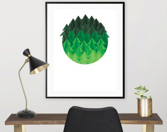 Geometric Forest, Downloadable Print, Modern Art, Printable Art, Instant Download, Geometric.
