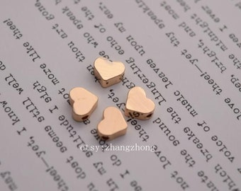 10 of 14K gold filled tiny heart spacer beads charm 5mm 7mm BQ3