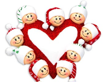 Heart with Faces 9 Personalized Christmas Ornament
