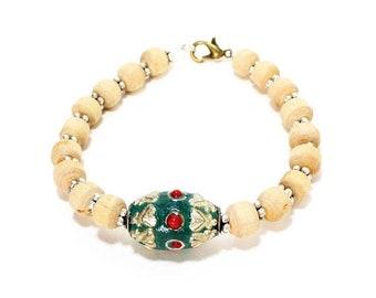 Clearance sale Handmade Indian Kashmiri bead and holy basil tulasi wooden bead yoga bracelet