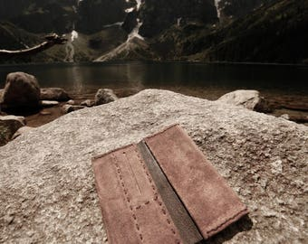 Tobacco pouch made from soft suede leather cocoa color