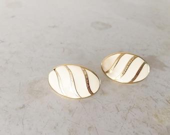 Cream enamel vintage TRIFARI 1970s earrings