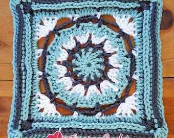 Rose Circle in A Square Crochet Pattern