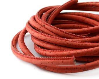 50 cm round cord Cork 5 mm color rust