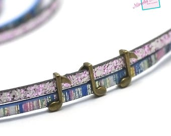 """10 pearls passing/slides for leather strap """"music note 005-b"""", bronze"""