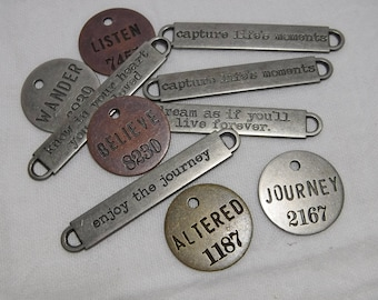 10 Piece - Assorted Inspirational Connector Links and Round Tags, Jewelry Making