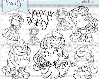 Sleeping Beauty Stamps, Aurora Princess Stamps, Aurora Stamps, Three Good Fairies, COMMERCIAL USE, Fairy Tale Stamp, Digital Stamp, Line Art