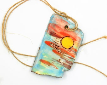 Sunset pendant sunrise, summer, blue, orange, yellow sun, supplies, enameled, necklace, ceramic component for jewelry, pottery, ooak