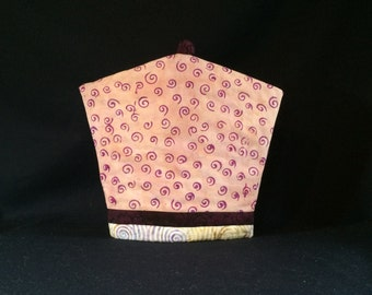 Pink Purple Spiral Batik Tea Cozy, Coffee Cozy & French Press Cozy Quilt