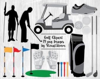 Golf Clipart Digital Golfing Graphics Scrapbook Golf Cart Golf Club Bag Golfer Silhouette Glove Shoes Flag Tee Summer Spring Sports Graphics