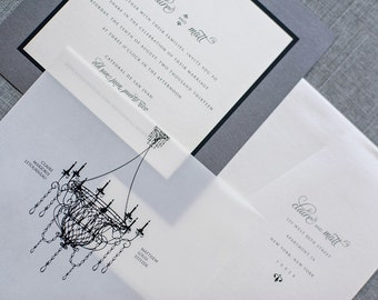 Antique Chandelier Wedding Invitations, Black Tie Wedding, Gray Wedding Invitations, Custom Wedding Invitation Suite | Claire & Matt