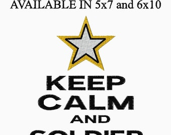 Keep Calm and Soldier On US ARMY Embroidery Design