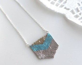 Chevron sterling silver necklace, Silver gift turquoise jewelry, Triangle turquoise necklace, Silver gift ideas for woman