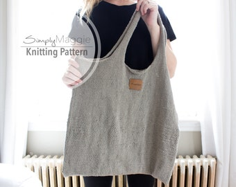 Knitting Pattern // The Esker Point Tote // Beach Bag // Market Bag  // Linen Tote // Beginner Pattern // Simply Maggie