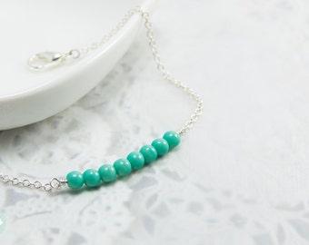 Turquoise bead bracelet, beaded bracelet, silver bracelet, silver turquoise,cute bracelet, friendship bracelet, gold chain, dainty bracelet