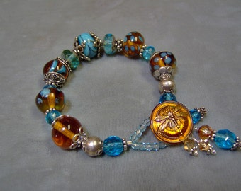 Artisan Lampwork Beaded Bracelet in Sterling Silver - With Czech Glass Dragonfly Button as Clasp