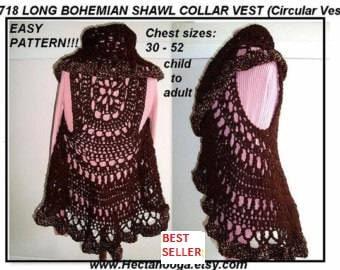 Long Bohemian Vest, Crochet PATTERN-  shawl collar, crochet pattern for women, kids,  Chest 30-52 inch, circular vest,#718 Chest