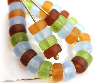 Seaglass look Rondelle beads mix, 6x3mm pressed czech glass matte spacers, Blue, Green, Amber, Brown rondels - 40Pc - 2922