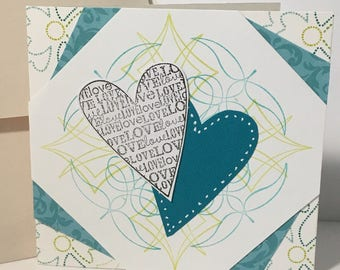 Hearts of Love handmade greeting card