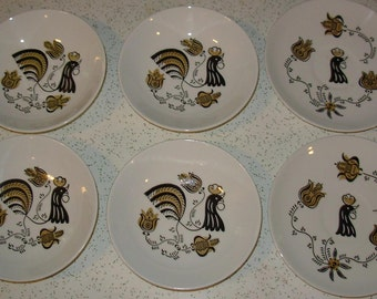 Royal China Saucers and Bowls Pattern Good Morning Rooster Two Saucers Four Bowls True Vintage REDUCED PRICE