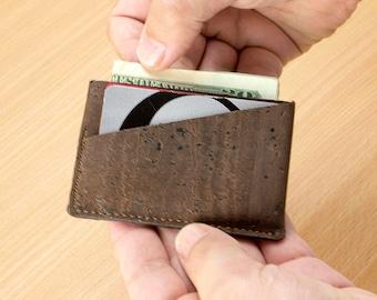 Minimalist Slim Wallet for Men  - Slim Men's Wallet - Thin Wallet - Vegan Wallet - Gift Ideas Made from Cork - Front Pocket Wallet (CK154)