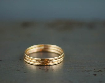 Recycled Gold Rings - Solid 14k Gold Ring Set - Eco Friendly Jewelry - Stacking Thin Rings