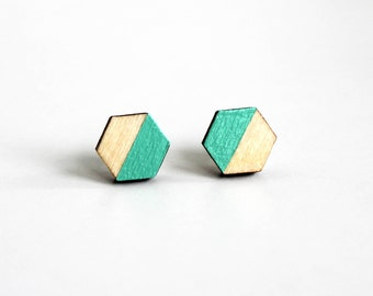 turquoise green earrings, geometric earrings, minimalist earrings, hexagon earrings, wooden earrings, turquoise jewelry, gift for her