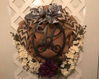 Everyday Monogram Wreath - Burlap Wreath - Front Door Wreath - Housewarming Gift - Gift For Her - Monogram Wreath - Wedding Shower Gift -