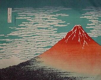 Japan Fabric Furoshiki Hokusai's 'Aka Fuji' Red Fuji Cotton Woodblock Print Fabric 48cm w/Free Insured Shipping