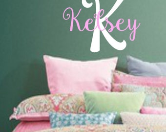 Personalized wall decal, Name, Initial, Vinyl Wall Decal, Girl, Teenage, Bedroom, Nursery, Home Decor, Wall decal, Vinyl decal, Children