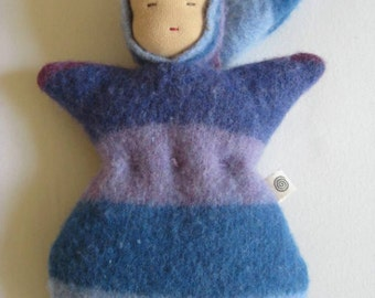 Waldorf Bunting Doll, Blue and Purple Striped Upcycled Wool, Waldorf Style Sleeping Baby Doll