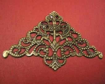 6pc antique bronze large triangular filigree wraps-3936