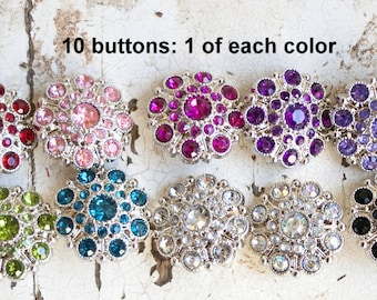28mm Rhinestone Buttons - Set of 10 Large Rhinestone Buttons - 1 of Each Color -  Acrylic Plastic Rhinestone Buttons