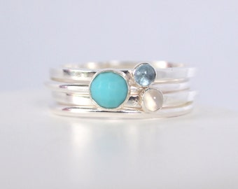 Mixed Birthstone Stacking Rings, Sterling Silver Turquoise. Aquamarine and Moonstone Ring Set, Family Birthstone Jewellery, Mothers Ring