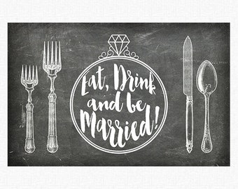 """Chalkboard Wedding Paper Placemats 