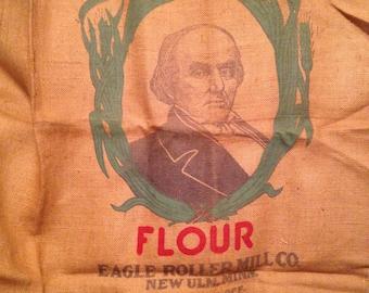 Unusual vintage Daniel Webster Flour sack