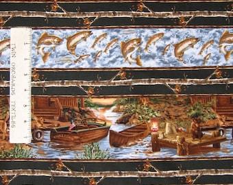Rustic Fabric - Fishing Cabin & Dog Stripe Black - Timeless Treasures YARD