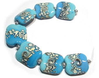 Glass   Lampwork  Beads Handmade, Squeezed Turquoise and Ivory  Mix