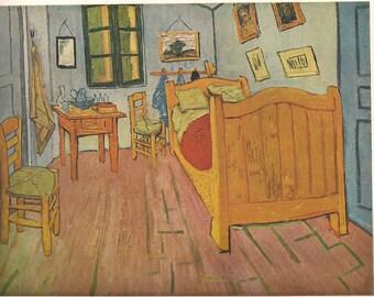Van Gogh Print Vintage Van Gogh Vincent Van Gogh Van Gogh Art Dutch Artist Post Impressionism Impressionist Print Bedroom At Arles 1951