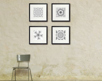 Snow Photography, Set of Four, Abstract Photography, Black and White, Geometry, Kaleidoscope, Cabin Wall Art, Modern Art