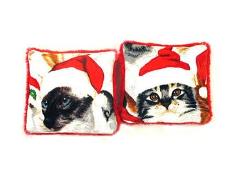 Two Catnip Filled Cat Toys - Cats in Santa Hats