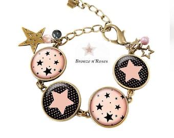 Bracelet * Rose Stars * bronze stars black glass costume jewelry