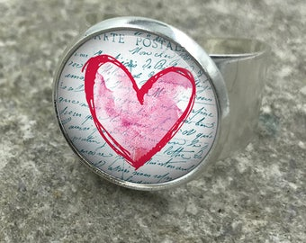 Heart Vintage Ring,  Hearts, Love, Heart Ring, Heart Jewellery, gift for her, wife gift, gift for wife, adjustable ring, Gift for Her|28