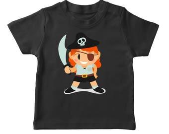 Cute Cartoon Girl In A Pirate Costume Girl's Black Halloween T-shirt