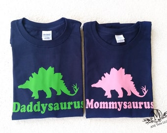 Daddy dinosaur and mommy dinosaur shirt set, personalized adult dinosaur shirt, dinosaur birthday