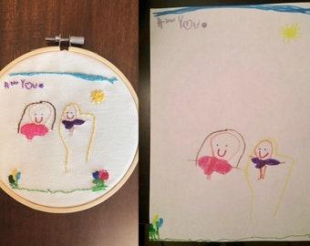 Embroidery Hoop- Kids Drawings- Replica- Wall Art- Home Decor-Gift- Personalize- Keepsake