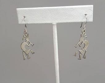 sterling silver Kokopelli dangle earrings-vintage