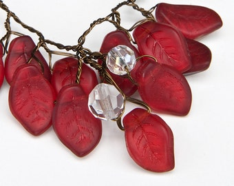 Red Beaded Necklace, Red Leaf necklace, Red Nature Inspired Jewelry, Small Red Bib Necklace