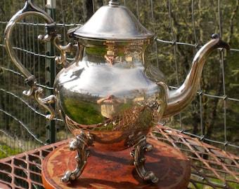 Vintage Silverplate Teapot Birmingham Silver Company  Silver Plate Cottage Chic Ornate Dining Decor Tea Service Serving Piece