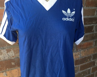 Vintage Blue V Neck Adidas T-shirt Trifoil Women Men Unisex Small